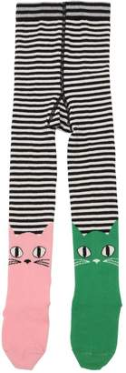 Cat Striped Cotton Knit Tights
