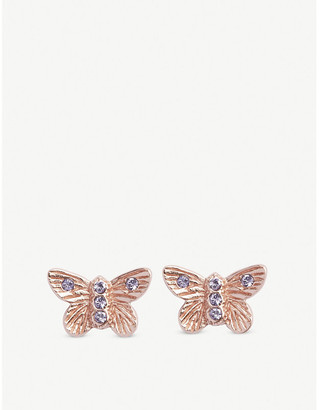 Olivia Burton Bejewelled Butterfly rose gold-plated stud earrings