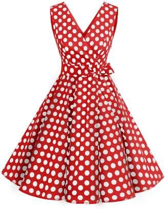 c6b470ccef7 Dresstells reg  Vintage 1950s Solid Color V Neck with Bow Tie Retro Swing  Dress M