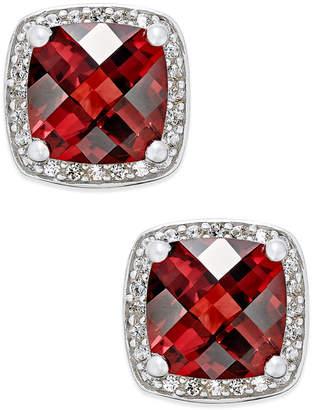 Macy's Rhodolite Garnet (2-1/4 ct. t.w.) and Diamond (1/8 ct. t.w.) Halo Stud Earrings in Sterling Silver