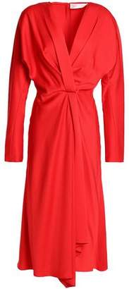 Victoria Beckham Wrap-Effect Gathered Satin-Crepe Dress