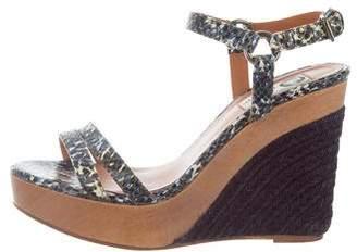 Lanvin Snakeskin Ankle Strap Wedges
