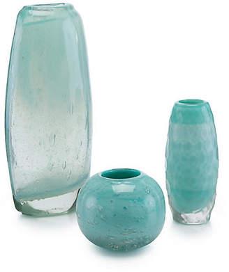 John-Richard Collection Set of 3 Floating Glass Vases - Aqua