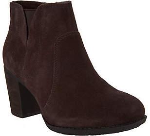 Clarks Suede Side Zip Ankle Boots - EnfieldSenya