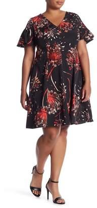 London Times V-Neck Fit & Flare Dress (Plus Size)
