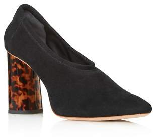 Loeffler Randall Women's Elyn Round Toe Suede Block High-Heel Pumps
