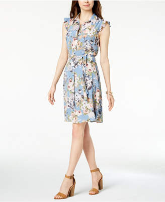Monteau Petite Printed Belted Shirtdress, Created for Macy's