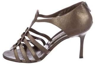 Manolo Blahnik Leather Cutout Sandals