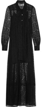 McQ Alexander McQueen - Pussy-bow Lace Maxi Dress - Black $1,135 thestylecure.com
