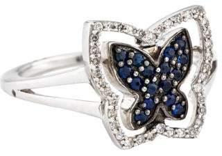 Ring 18K Diamond & Sapphire Butterfly Reversible