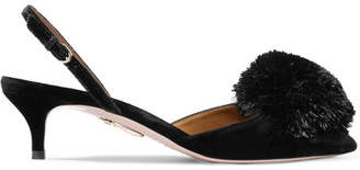 Aquazzura Powder Puff Pompom-embellished Velvet Slingback Pumps - Black