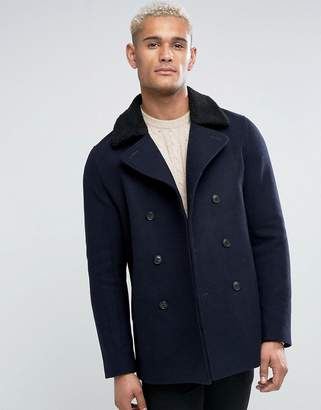 Jack Wills Brownson Wool Peacoat With Fleece Collar In Navy