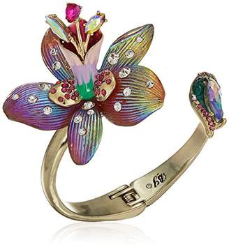 Betsey Johnson GBG)) Paradise Lost Women's Flower Hinge Bangle Cuff Bracelet