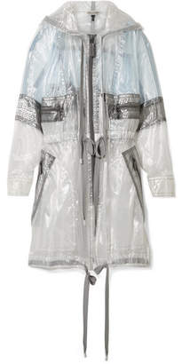 Hooded Oversized Organza Jacket - Light gray