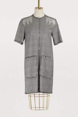 MSGM Plaid fringed dress