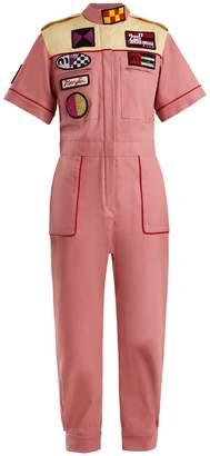 Miu Miu Marilyn badge-appliqué cotton-blend jumpsuit