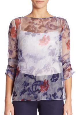 Armani Collezioni Printed Silk Blouse $695 thestylecure.com