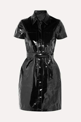 J Brand Lucille Belted Patent-leather Mini Shirt Dress - Black