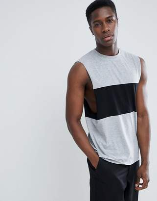 Asos Design DESIGN tank with dropped armhole and contrast panel in gray