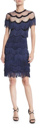 Naeem Khan Nk32 Beaded Fringe Dress w/ Sheer Yoke