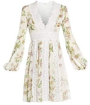 Giambattista Valli Women's Floral Ramage Silk V-Neck Dress