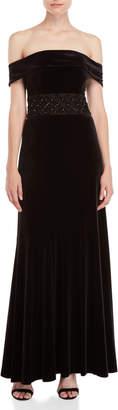 Shoshanna Black Denise Beaded Velvet Gown