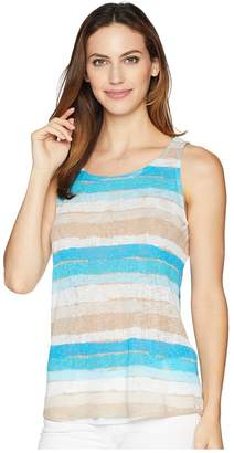 Tribal Printed Textured Knit Tank Top with Back Keyhole Women's Sleeveless