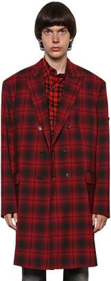 Balenciaga Double Breasted Wool Plaid Coat