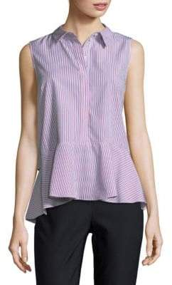 Stripe Hi-Lo Cotton Collared Shirt