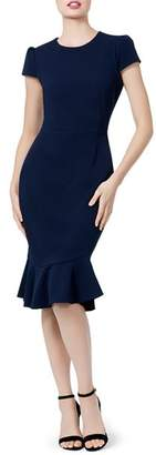Betsey Johnson Puff-Sleeve Scuba Crepe Dress