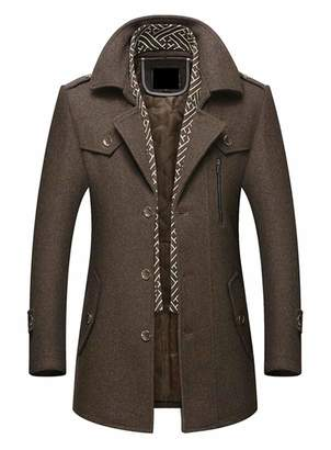 ouxiuli Men's Single Breasted Wool Blend Pea Coat Business Jacket Overcoat Topcoat M