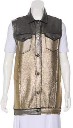 Avant Toi Metallic Button-Up Vest gold Metallic Button-Up Vest
