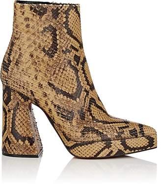 Proenza Schouler Women's Block-Heel Stamped-Leather Ankle Boots