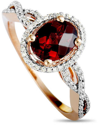 Generic Gemstones 14K Rose Gold 0.10 Ct. Tw. Diamond & Garnet Ring