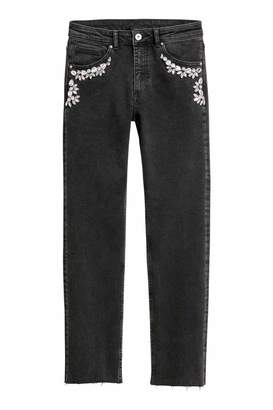 H&M Jeans with Rhinestones - Black denim/rhinestones - Women
