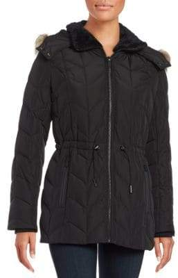 Kenneth Cole New York Faux Fur Trimmed Hooded Quilted Coat