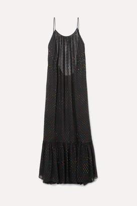 Caroline Constas Lola Open-back Metallic Fil Coupé Chiffon Maxi Dress - Black