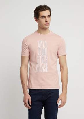 Emporio Armani Cotton Jersey T-Shirt With Statement Print