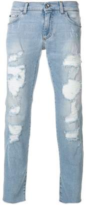 Dolce & Gabbana heavily distressed jeans
