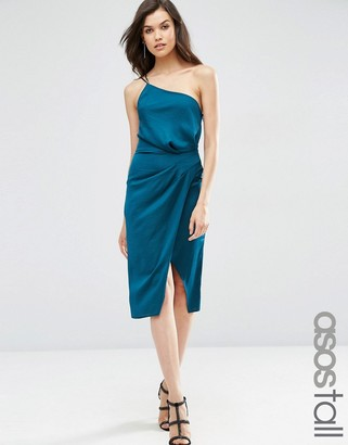 ASOS Tall ASOS TALL One Shoulder Cami Drape Hammered Satin Midi Pencil Dress $61 thestylecure.com