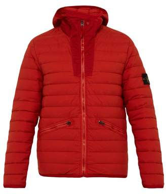 Stone Island Quilted Down Filled Hooded Coat - Mens - Burgundy