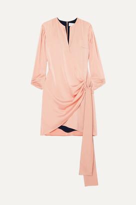 Victoria Beckham Victoria, Wrap-effect Satin-crepe Mini Dress - Peach