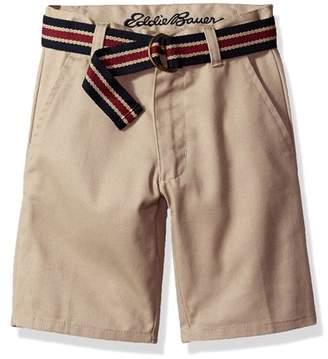 Eddie Bauer Boys Uniform Twill Flat Front Short with Belt and Phone Pocket