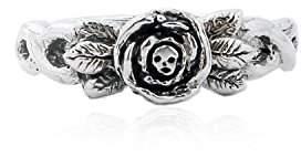 Momocreatura Women's Oxidised Sterling Silver Baby Skull in Rose Ring - Size N