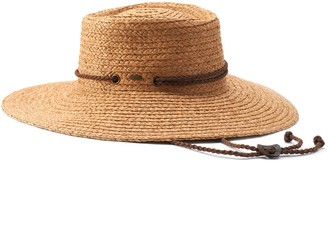Scala Women's Braided Raffia Boater Hat with Chin Cord
