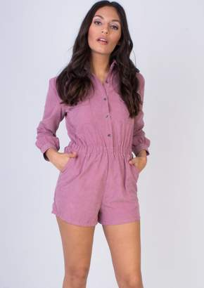 d7ab4372023 at Missy Empire · Missy Empire Missyempire Demetria Dusty Pink Button Front  Suede Playsuit