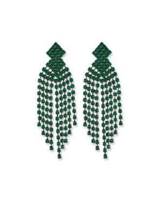 Kenneth Jay Lane Emerald Waterfall Clip-On Earrings