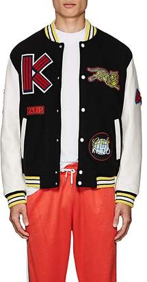 Kenzo Men's Logo-Patch Wool-Blend Melton Varsity Jacket