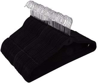 Juvale 50 Pack Black Velvet Hangers - Non Slip Hangers with Cascading Hooks - Thin Hangers - Non Slip Hangers