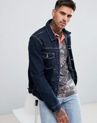 Asos DESIGN raw denim jacket with white stitching